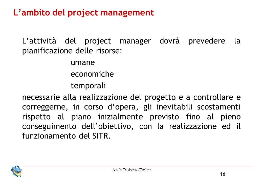 16 Arch.Roberto Dolce Lambito del project management Lattività del project manager dovrà prevedere la pianificazione delle risorse: umane economiche t