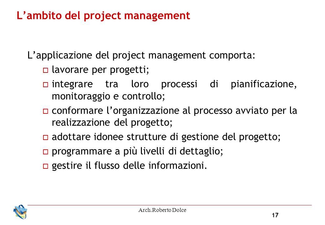 17 Arch.Roberto Dolce Lambito del project management Lapplicazione del project management comporta: lavorare per progetti; integrare tra loro processi