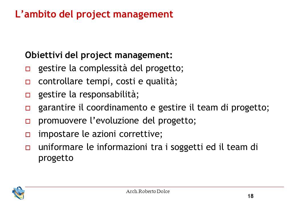 18 Arch.Roberto Dolce Lambito del project management Obiettivi del project management: gestire la complessità del progetto; controllare tempi, costi e