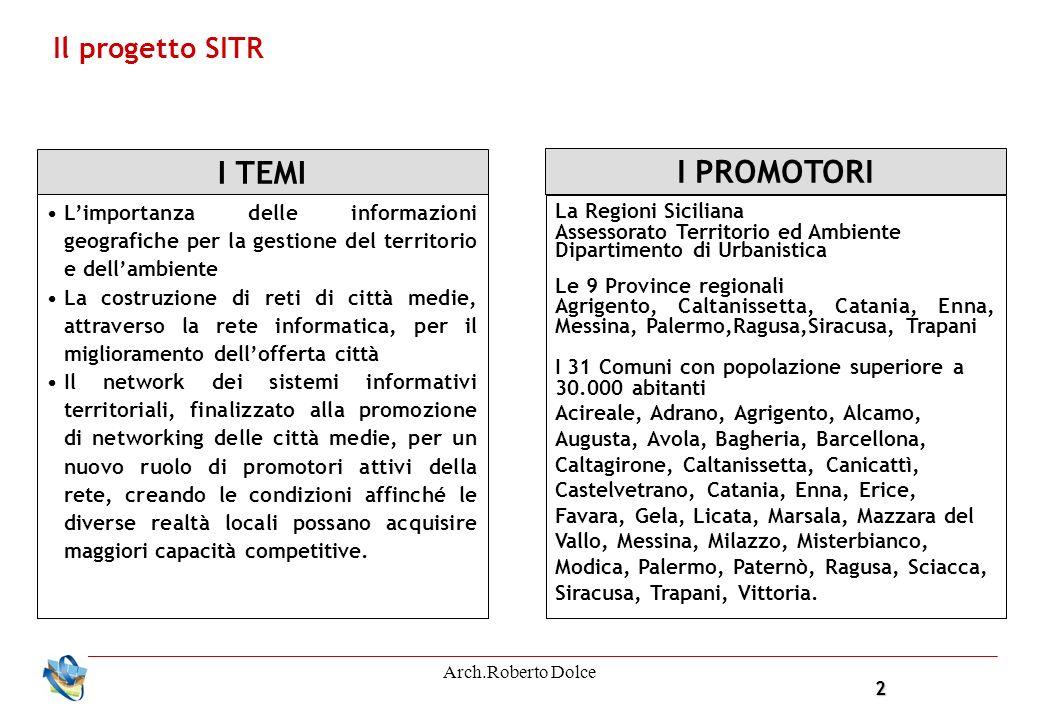 2 Arch.Roberto Dolce Il progetto SITR I TEMI Limportanza delle informazioni geografiche per la gestione del territorio e dellambiente La costruzione d