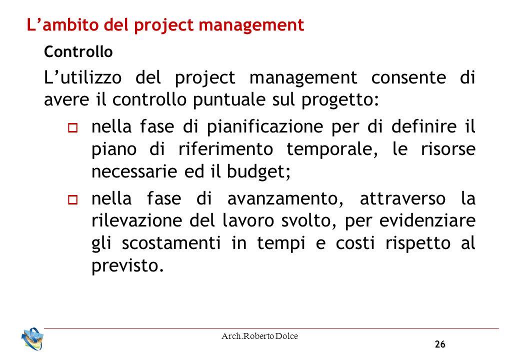 26 Arch.Roberto Dolce Lambito del project management Controllo Lutilizzo del project management consente di avere il controllo puntuale sul progetto: