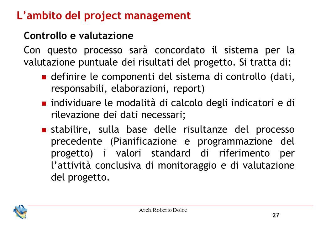 27 Arch.Roberto Dolce Lambito del project management Controllo e valutazione Con questo processo sarà concordato il sistema per la valutazione puntuale dei risultati del progetto.