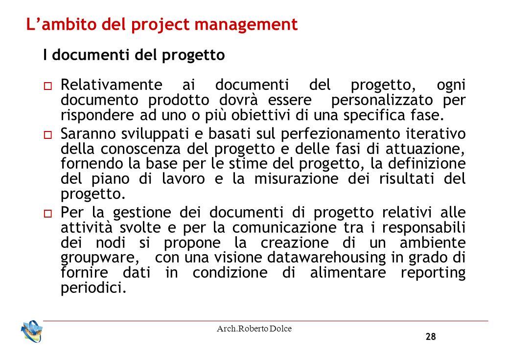 28 Arch.Roberto Dolce Lambito del project management I documenti del progetto Relativamente ai documenti del progetto, ogni documento prodotto dovrà essere personalizzato per rispondere ad uno o più obiettivi di una specifica fase.
