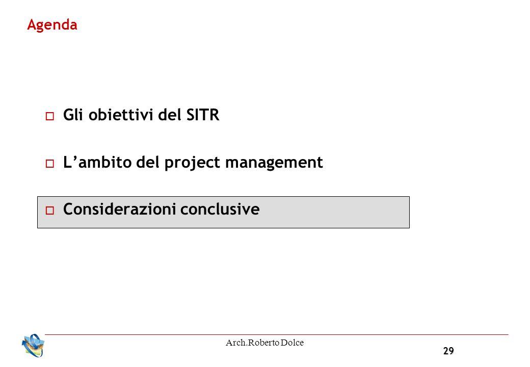29 Arch.Roberto Dolce Agenda Gli obiettivi del SITR Lambito del project management Considerazioni conclusive