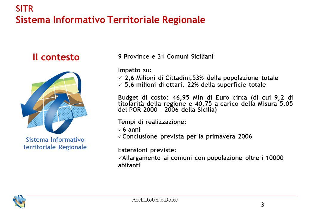 3 Arch.Roberto Dolce SITR Sistema Informativo Territoriale Regionale 9 Province e 31 Comuni Siciliani Impatto su: 2,6 Milioni di Cittadini,53% della popolazione totale 5,6 milioni di ettari, 22% della superficie totale Budget di costo: 46,95 Mln di Euro circa (di cui 9,2 di titolarità della regione e 40,75 a carico della Misura 5.05 del POR 2000 – 2006 della Sicilia) Tempi di realizzazione: 6 anni Conclusione prevista per la primavera 2006 Estensioni previste: Allargamento ai comuni con popolazione oltre i 10000 abitanti Il contesto Sistema Informativo Territoriale Regionale