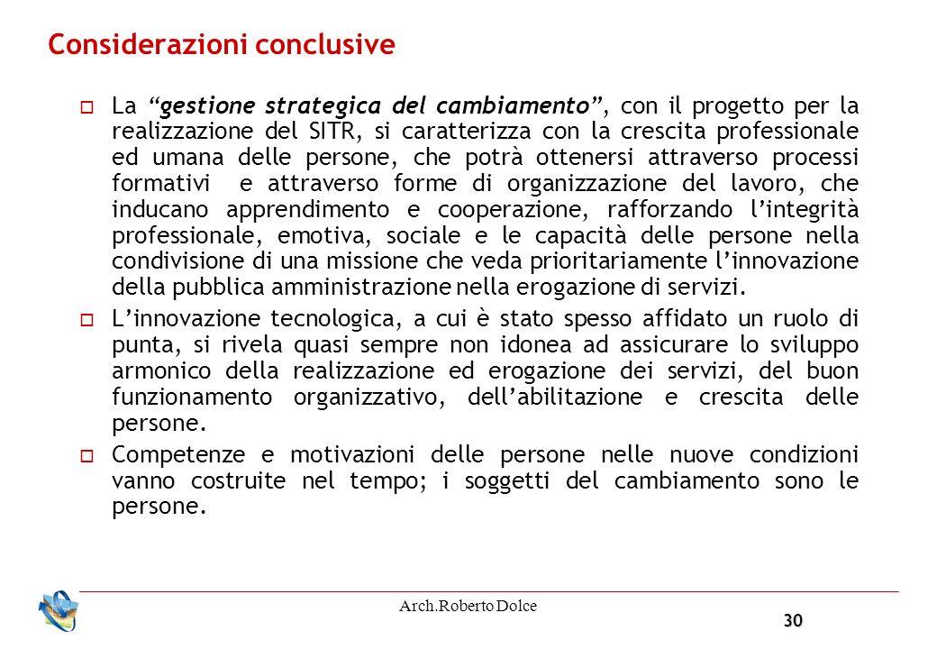 30 Arch.Roberto Dolce Considerazioni conclusive La gestione strategica del cambiamento, con il progetto per la realizzazione del SITR, si caratterizza
