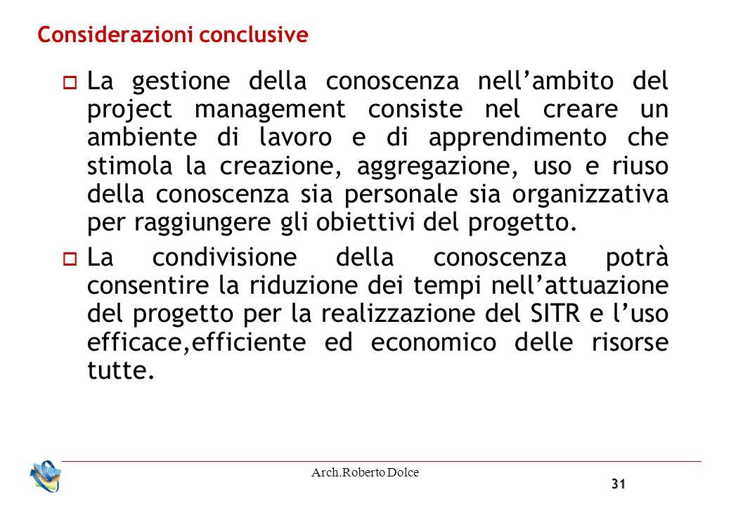 31 Arch.Roberto Dolce Considerazioni conclusive La gestione della conoscenza nellambito del project management consiste nel creare un ambiente di lavo