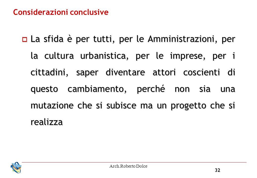 32 Arch.Roberto Dolce Considerazioni conclusive La sfida è per tutti, per le Amministrazioni, per la cultura urbanistica, per le imprese, per i cittadini, saper diventare attori coscienti di questo cambiamento, perché non sia una mutazione che si subisce ma un progetto che si realizza