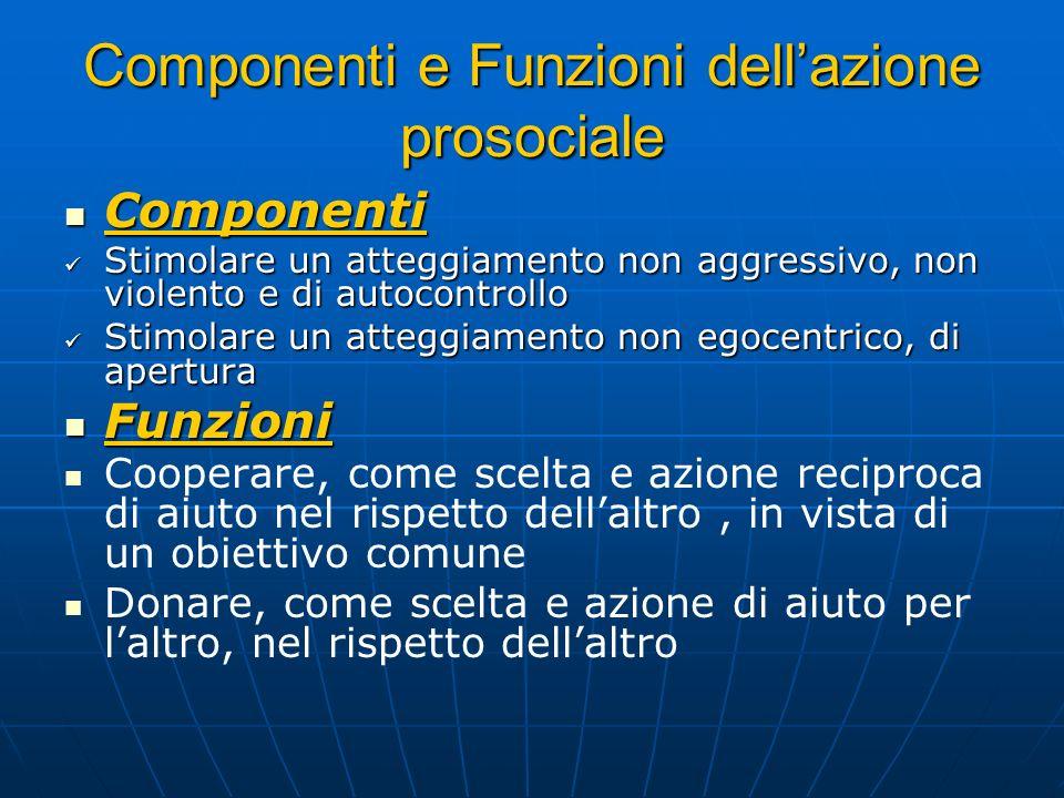 Componenti e Funzioni dellazione prosociale Componenti Componenti Stimolare un atteggiamento non aggressivo, non violento e di autocontrollo Stimolare