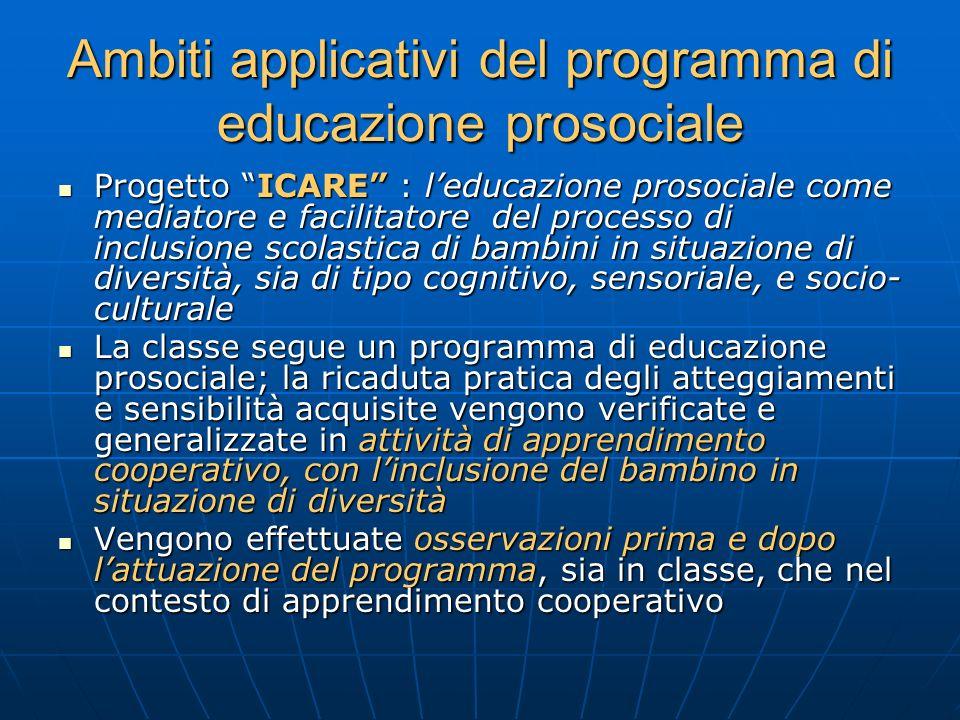 Ambiti applicativi del programma di educazione prosociale Progetto ICARE : leducazione prosociale come mediatore e facilitatore del processo di inclus