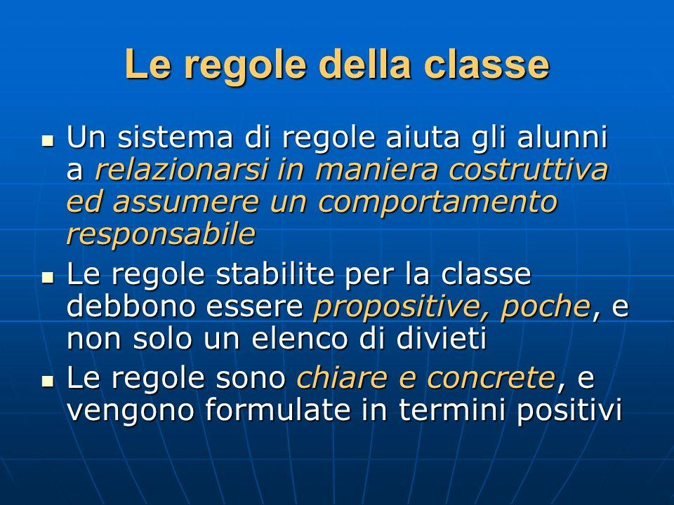 Le regole della classe Un sistema di regole aiuta gli alunni a relazionarsi in maniera costruttiva ed assumere un comportamento responsabile Un sistem