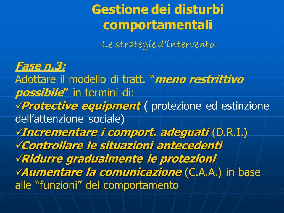 Fase n.3: Adottare il modello di tratt. meno restrittivo possibile in termini di: Protective equipment Protective equipment ( protezione ed estinzione