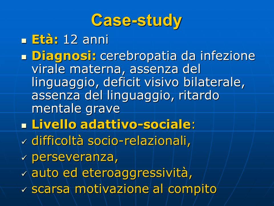 Case-study Età: 12 anni Età: 12 anni Diagnosi: cerebropatia da infezione virale materna, assenza del linguaggio, deficit visivo bilaterale, assenza de
