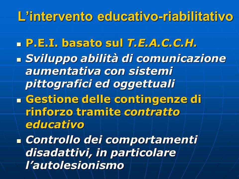 Lintervento educativo-riabilitativo P.E.I. basato sul T.E.A.C.C.H. P.E.I. basato sul T.E.A.C.C.H. Sviluppo abilità di comunicazione aumentativa con si