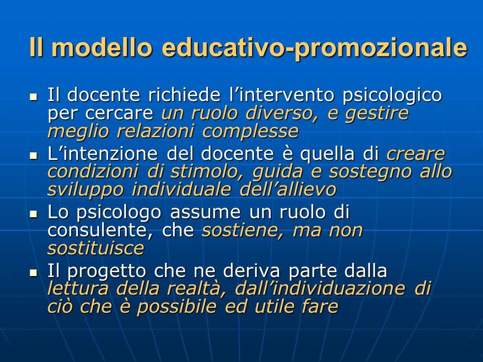 Il modello educativo-promozionale Il docente richiede lintervento psicologico per cercare un ruolo diverso, e gestire meglio relazioni complesse Il do