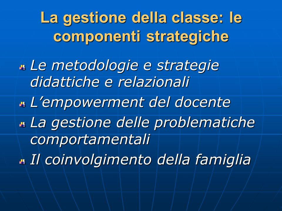 La gestione della classe: le componenti strategiche Le metodologie e strategie didattiche e relazionali Lempowerment del docente La gestione delle pro