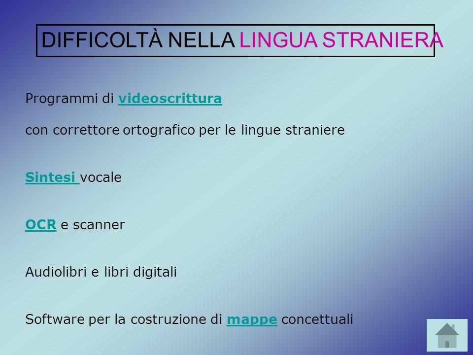 Programmi di videoscritturavideoscrittura con correttore ortografico per le lingue straniere Sintesi Sintesi vocale OCROCR e scanner Audiolibri e libr