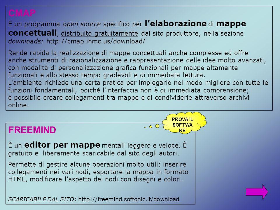 CMAP È un programma open source specifico per lelaborazione di mappe concettuali, distribuito gratuitamente dal sito produttore, nella sezione downloa