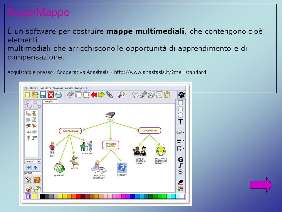 SuperMappe È un software per costruire mappe multimediali, che contengono cioè elementi multimediali che arricchiscono le opportunità di apprendimento