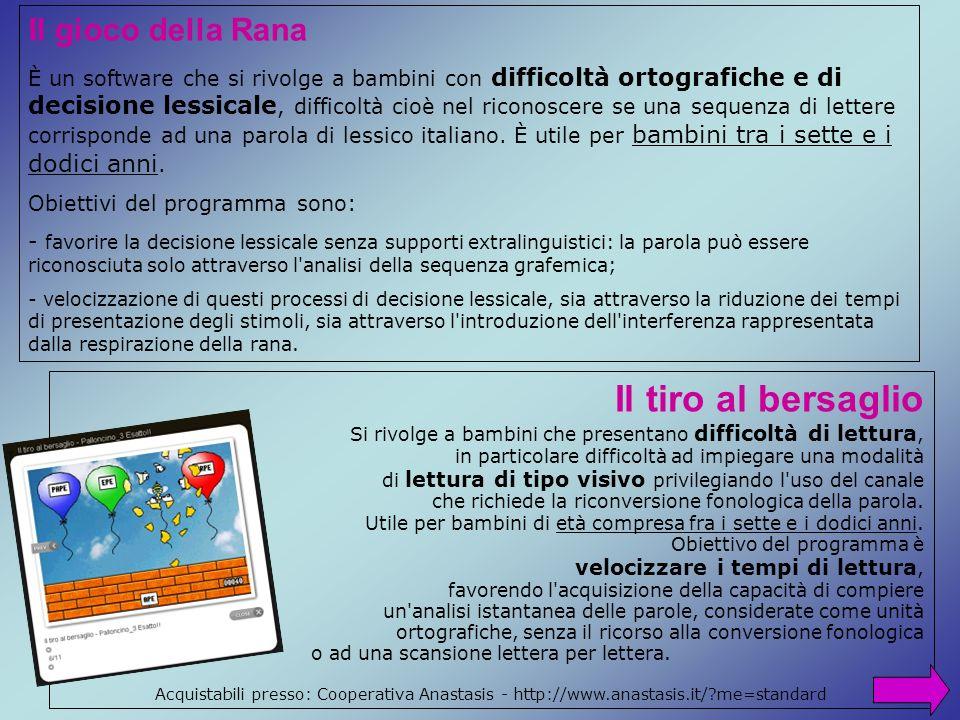 Il gioco della Rana È un software che si rivolge a bambini con difficoltà ortografiche e di decisione lessicale, difficoltà cioè nel riconoscere se un