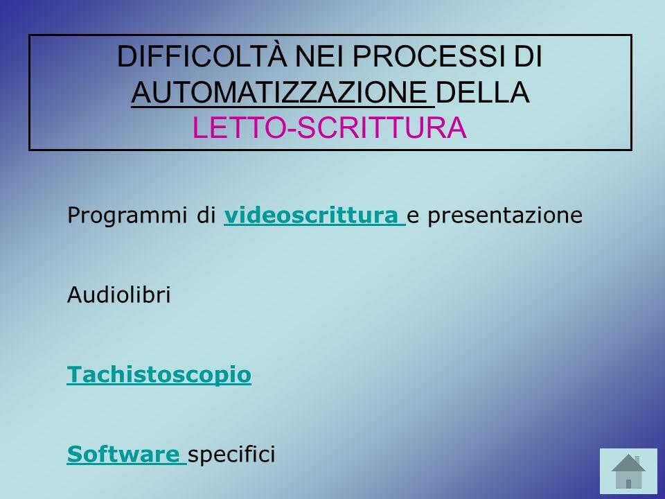 Programmi di videoscrittura e presentazionevideoscrittura Audiolibri Tachistoscopio Software Software specifici DIFFICOLTÀ NEI PROCESSI DI AUTOMATIZZA