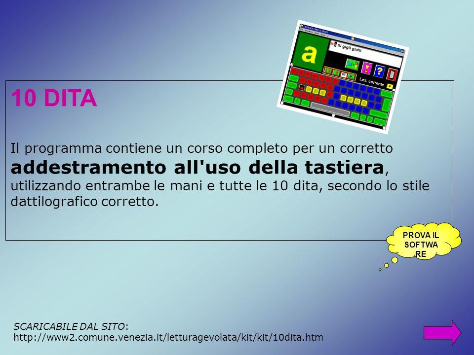 10 DITA Il programma contiene un corso completo per un corretto addestramento all'uso della tastiera, utilizzando entrambe le mani e tutte le 10 dita,