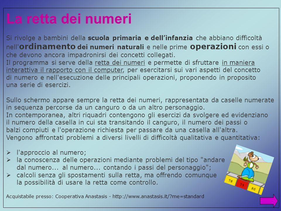 La retta dei numeri Si rivolge a bambini della scuola primaria e dellinfanzia che abbiano difficoltà nell' ordinamento dei numeri naturali e nelle pri