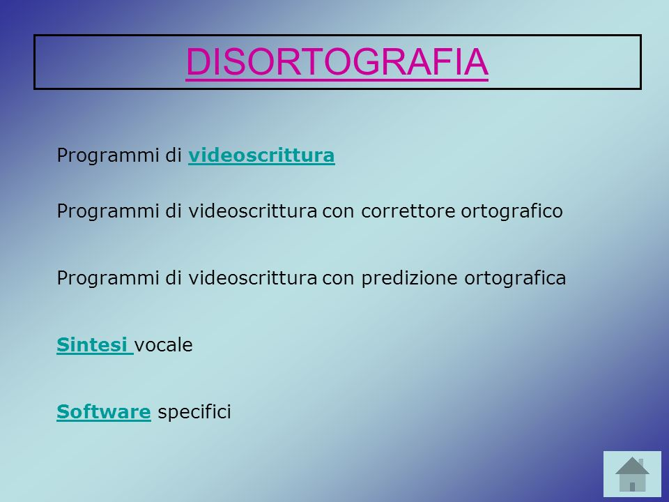 Programmi di videoscritturavideoscrittura Sintesi Sintesi vocale OCR OCR e scanner SoftwareSoftware specifici DIFFICOLTÀ NELL ESPRESSIONE DELLA LINGUA SCRITTA