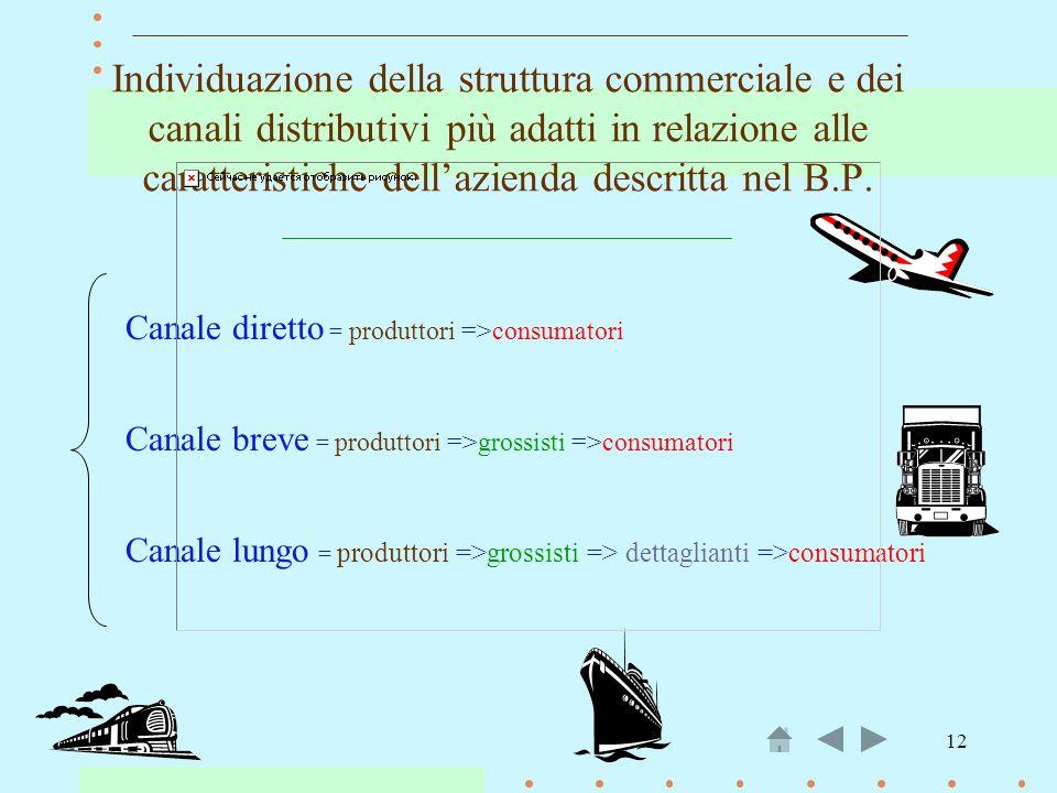 12 Individuazione della struttura commerciale e dei canali distributivi più adatti in relazione alle caratteristiche dellazienda descritta nel B.P. Ca