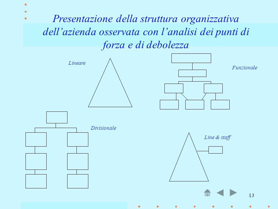 13 Presentazione della struttura organizzativa dellazienda osservata con lanalisi dei punti di forza e di debolezza Lineare Funzionale Divisionale Lin