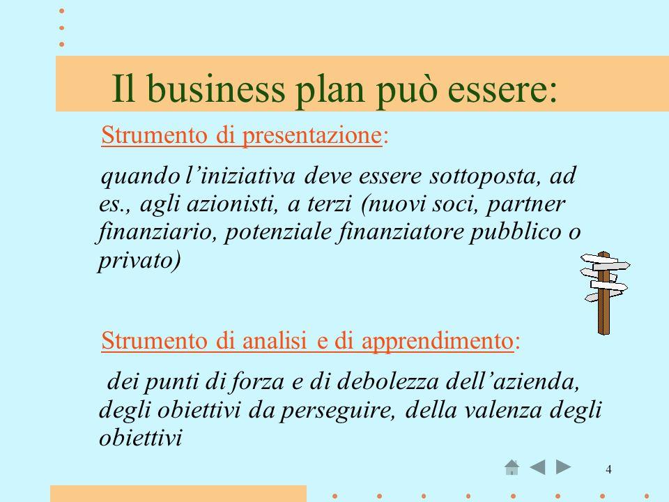 4 Il business plan può essere: Strumento di presentazione: quando liniziativa deve essere sottoposta, ad es., agli azionisti, a terzi (nuovi soci, par