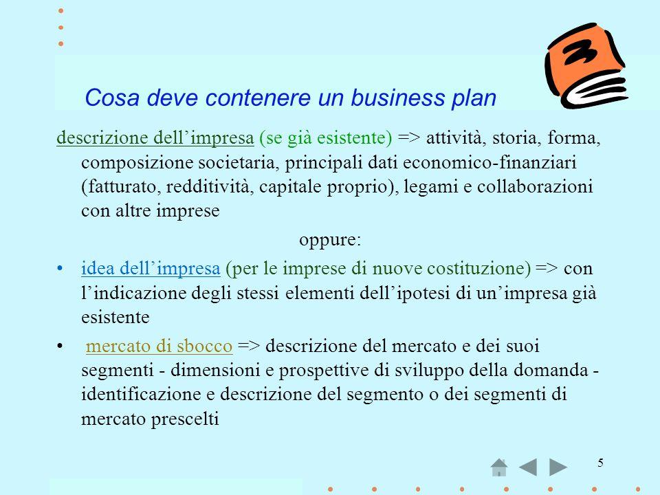 5 Cosa deve contenere un business plan descrizione dellimpresa (se già esistente) => attività, storia, forma, composizione societaria, principali dati