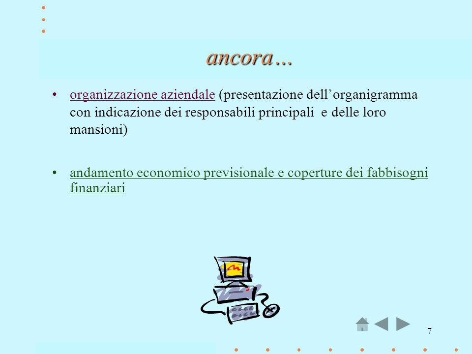 7 organizzazione aziendale (presentazione dellorganigramma con indicazione dei responsabili principali e delle loro mansioni) andamento economico prev