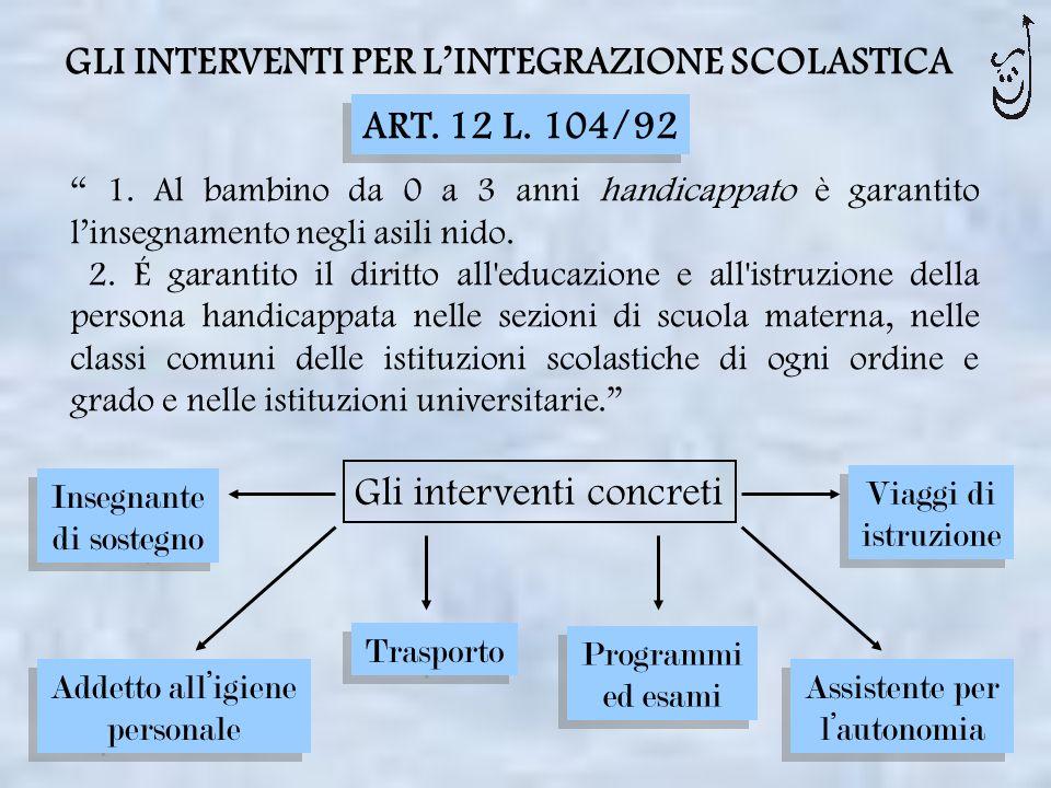 GLI INTERVENTI PER LINTEGRAZIONE SCOLASTICA 1. Al bambino da 0 a 3 anni handicappato è garantito linsegnamento negli asili nido. 2. É garantito il dir