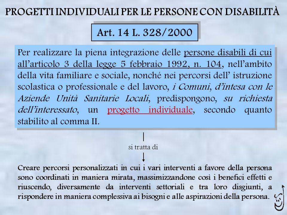 PROGETTI INDIVIDUALI PER LE PERSONE CON DISABILITÀ Art. 14 L. 328/2000 Per realizzare la piena integrazione delle persone disabili di cui allarticolo