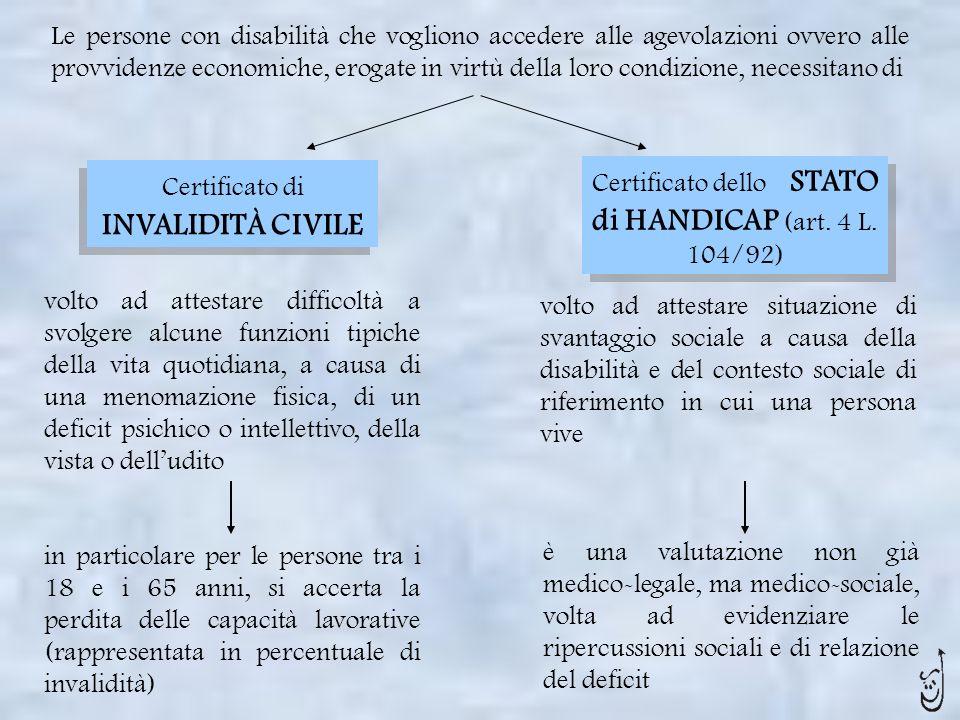 Le persone con disabilità che vogliono accedere alle agevolazioni ovvero alle provvidenze economiche, erogate in virtù della loro condizione, necessit
