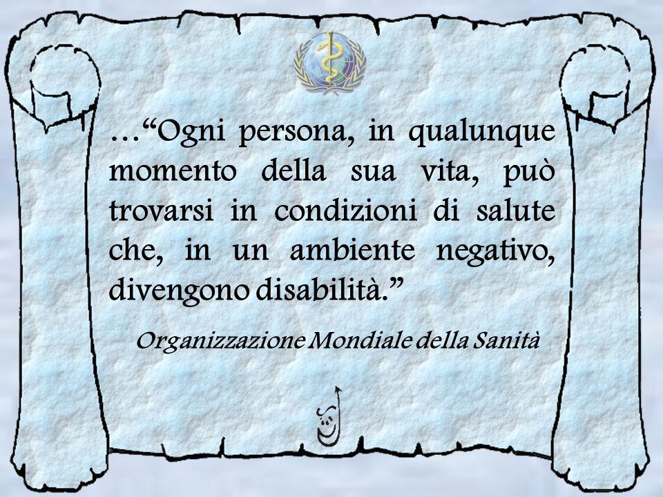 …Ogni persona, in qualunque momento della sua vita, può trovarsi in condizioni di salute che, in un ambiente negativo, divengono disabilità. Organizza