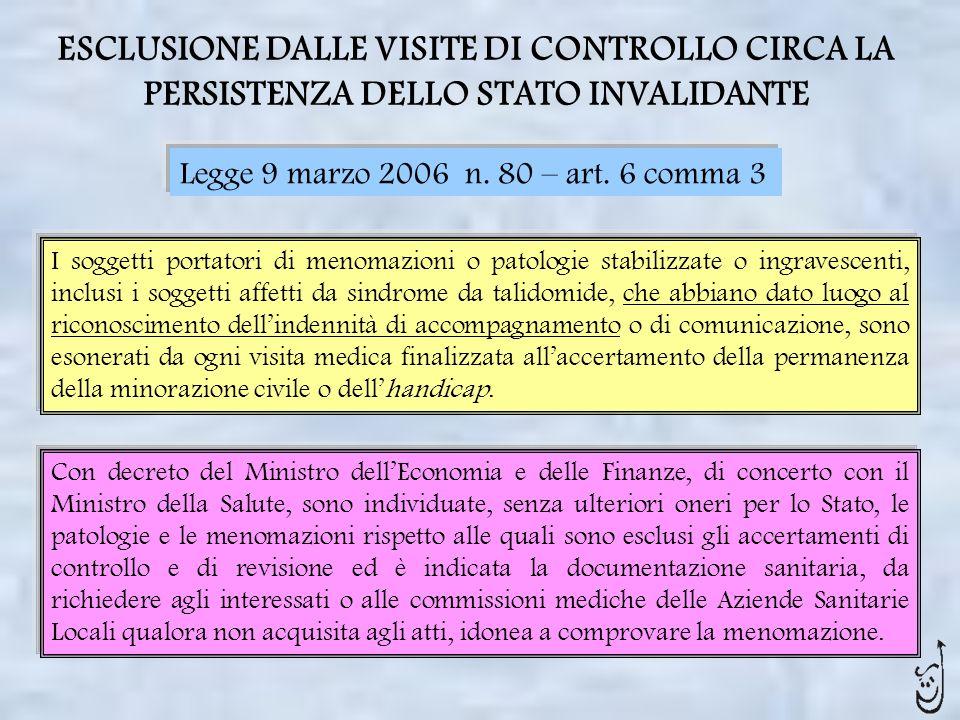 ESCLUSIONE DALLE VISITE DI CONTROLLO CIRCA LA PERSISTENZA DELLO STATO INVALIDANTE Legge 9 marzo 2006 n. 80 – art. 6 comma 3 I soggetti portatori di me