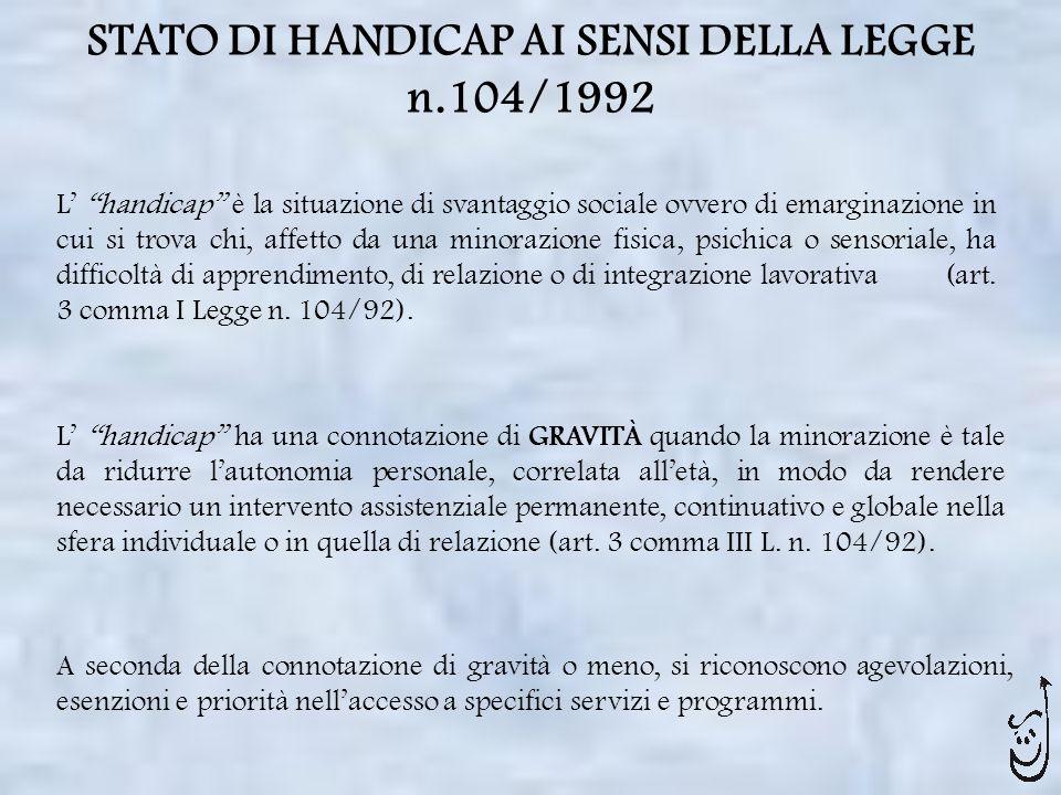 STATO DI HANDICAP AI SENSI DELLA LEGGE n.104/1992 L handicap è la situazione di svantaggio sociale ovvero di emarginazione in cui si trova chi, affett