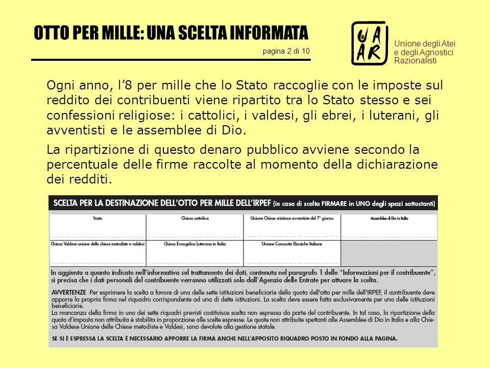 OTTO PER MILLE: UNA SCELTA INFORMATA pagina 2 di 10 Unione degli Atei e degli Agnostici Razionalisti Ogni anno, l8 per mille che lo Stato raccoglie co