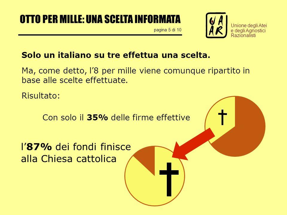 OTTO PER MILLE: UNA SCELTA INFORMATA pagina 5 di 10 Unione degli Atei e degli Agnostici Razionalisti Solo un italiano su tre effettua una scelta.