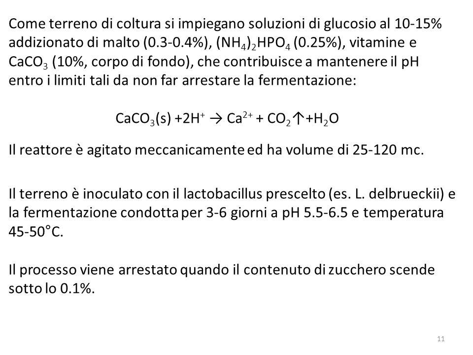Come terreno di coltura si impiegano soluzioni di glucosio al 10-15% addizionato di malto (0.3-0.4%), (NH 4 ) 2 HPO 4 (0.25%), vitamine e CaCO 3 (10%, corpo di fondo), che contribuisce a mantenere il pH entro i limiti tali da non far arrestare la fermentazione: CaCO 3 (s) +2H + Ca 2+ + CO 2 +H 2 O Il reattore è agitato meccanicamente ed ha volume di 25-120 mc.