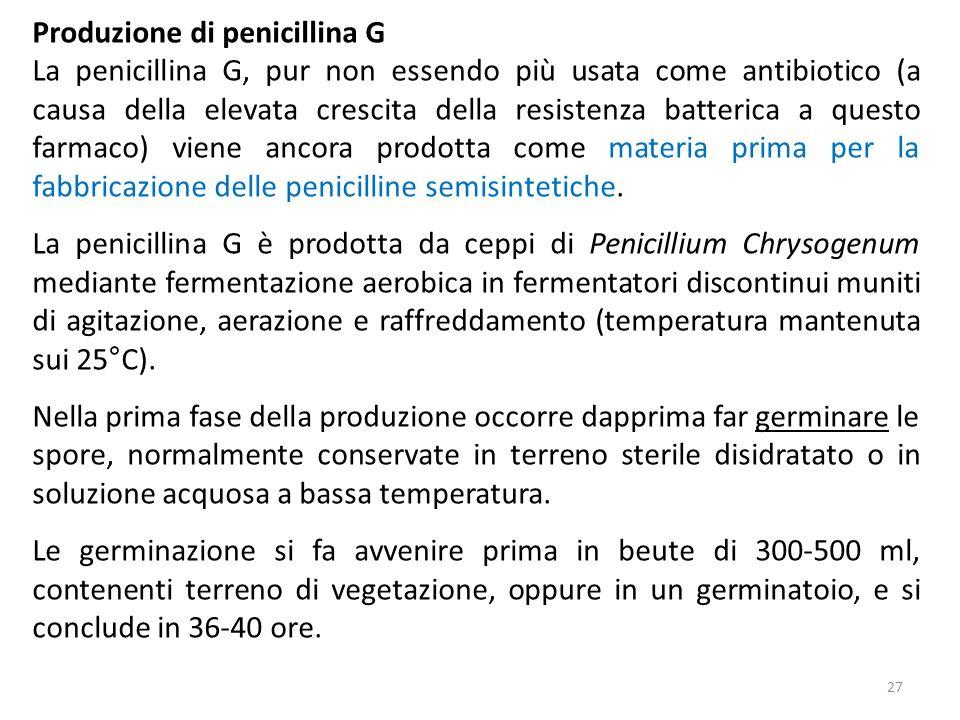 Produzione di penicillina G La penicillina G, pur non essendo più usata come antibiotico (a causa della elevata crescita della resistenza batterica a questo farmaco) viene ancora prodotta come materia prima per la fabbricazione delle penicilline semisintetiche.