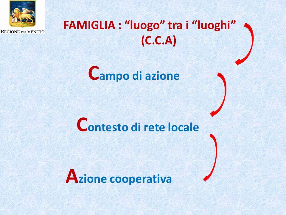 FAMIGLIA : luogo tra i luoghi (C.C.A) C ampo di azione C ontesto di rete locale A zione cooperativa