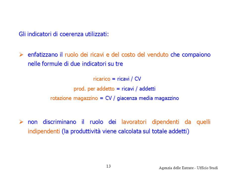 Agenzia delle Entrate - Ufficio Studi Gli indicatori di coerenza utilizzati: enfatizzano il ruolo dei ricavi e del costo del venduto che compaiono nel