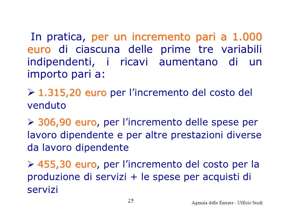Agenzia delle Entrate - Ufficio Studi per un incremento pari a 1.000 euro In pratica, per un incremento pari a 1.000 euro di ciascuna delle prime tre variabili indipendenti, i ricavi aumentano di un importo pari a: 1.315,20 euro 1.315,20 euro per lincremento del costo del venduto 306,90 euro 306,90 euro, per lincremento delle spese per lavoro dipendente e per altre prestazioni diverse da lavoro dipendente 455,30 euro 455,30 euro, per lincremento del costo per la produzione di servizi + le spese per acquisti di servizi 25