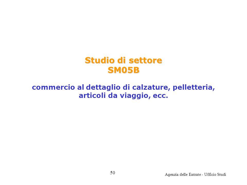 Agenzia delle Entrate - Ufficio Studi Studio di settore SM05B Studio di settore SM05B commercio al dettaglio di calzature, pelletteria, articoli da viaggio, ecc.