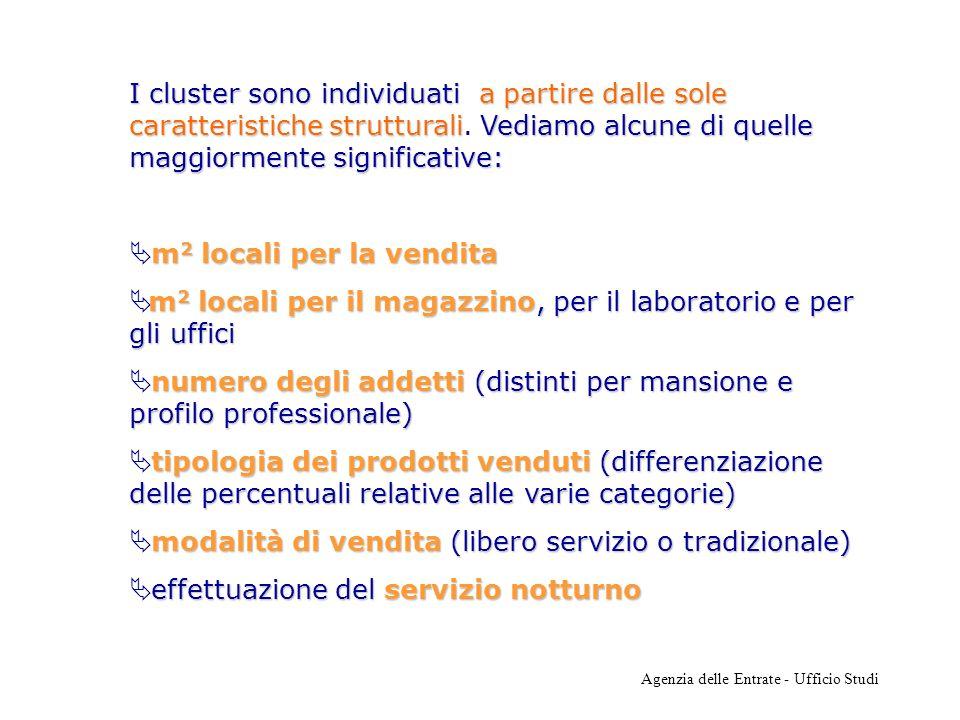 Agenzia delle Entrate - Ufficio Studi I cluster sono individuatia partire dalle sole caratteristiche strutturaliVediamo alcune di quelle maggiormente significative: I cluster sono individuati a partire dalle sole caratteristiche strutturali.