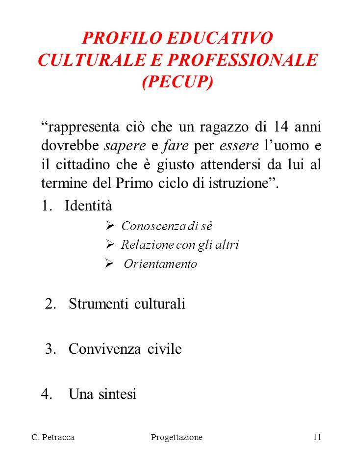 C. PetraccaProgettazione11 PROFILO EDUCATIVO CULTURALE E PROFESSIONALE (PECUP) rappresenta ciò che un ragazzo di 14 anni dovrebbe sapere e fare per es