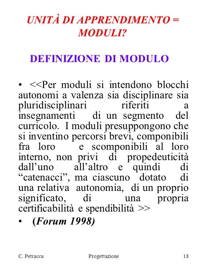 C. PetraccaProgettazione18 UNITÀ DI APPRENDIMENTO = MODULI? DEFINIZIONE DI MODULO > (Forum 1998)